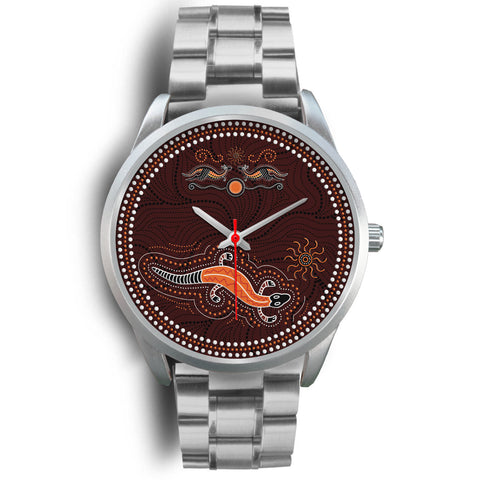 1stAustralia Aboriginal Watch, Lizard Watch Kangaroo Patterns Silver Watch