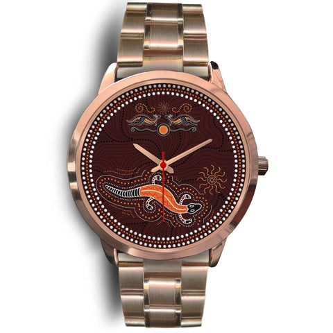 1stAustralia Aboriginal Watch, Lizard Watch Kangaroo Patterns Rose Gold Watch