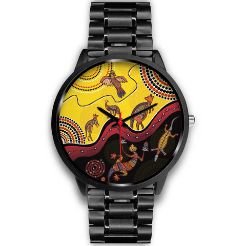 1stAustralia Aboriginal Watch - Indigenous Animals Life Art Black Watch