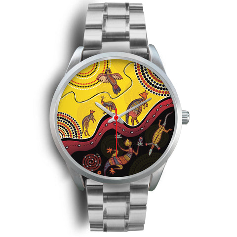 1stAustralia Aboriginal Watch - Indigenous Animals Life Art Silver Watch