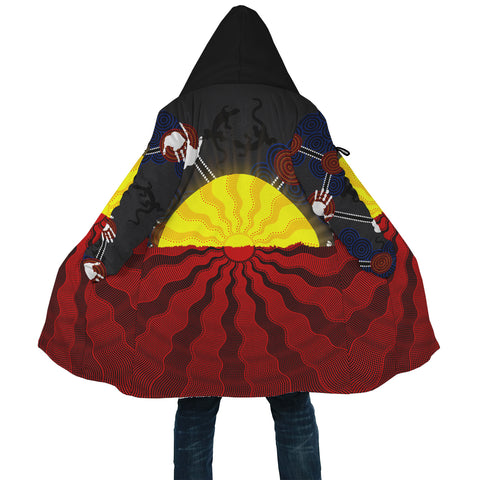 1stAustralia Aboriginal Cloak, Australia Indigenous Flag Sun Dot Painting