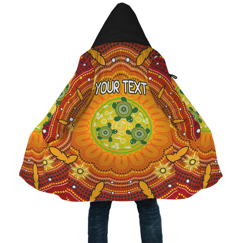[Custom Text] 1stAustralia Aboriginal Cloak - Turtle Circle Dot Painting Art