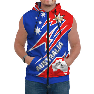 (Custom) 1stAustralia Sleeveless Hoodie - Australia Flag Color And Coat Of Arm