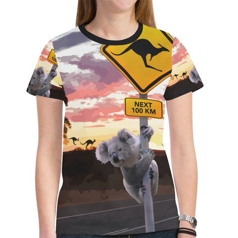 Australia T-shirt Koala With Kangaroo Sign
