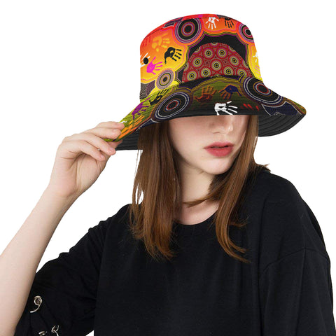 1stAustralia Aboriginal Bucket Hat, Indigenous Circle Dot Painting Hand Art with Flag Color