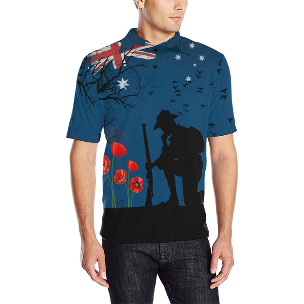 Anzac Australia Remembers Polo Shirt with Blue mix Black color - Front - For Men