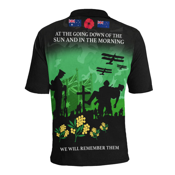 Anzac Australia Remembers Polo Shirt with Green mix Black color - Back - For Women
