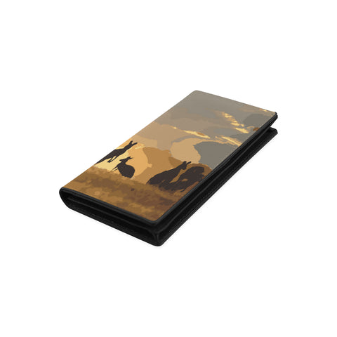 Kangaroo Family Sunset Womens Leather Wallet