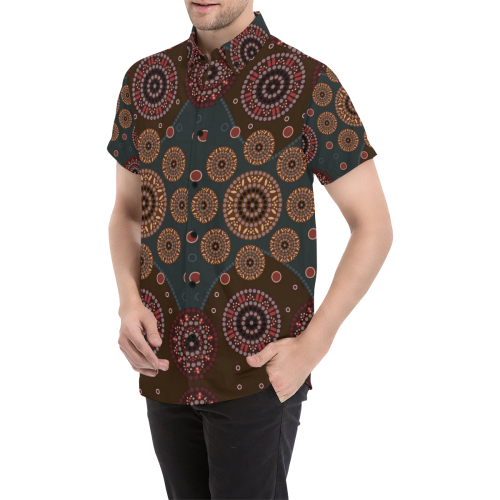 1stAustralia Short Sleeve Shirt - Aboriginal Dot Painting Shirt Ver02 - Men
