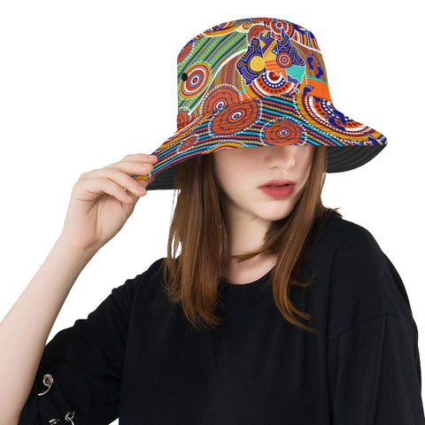 1stAustralia Aboriginal Bucket Hat, Australian Map Dot Painting