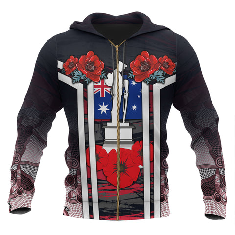 1stAustralia Zip-up Hoodies - Anzac Day Hoodies - Poppy Flowers Dot Painting - Unisex
