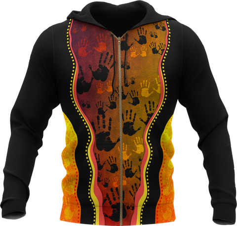 Australia Aboriginal Hoodie (Zip-up) - Golden Style