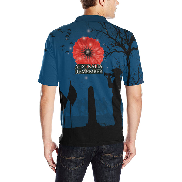 Anzac Australia Remembers Polo Shirt with Blue mix Black color - Back - For Men