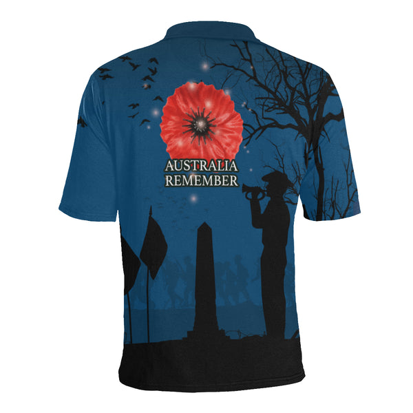 Anzac Australia Remembers Polo Shirt with Blue mix Black color - Back - For Women
