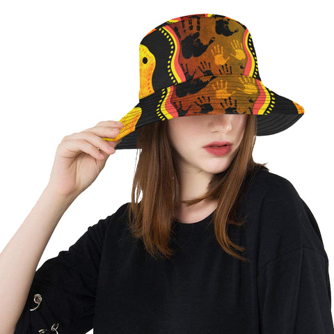 1stAustralia Bucket Hat, Aboriginal Rock Painting Hand Art Golden Style All Over Print Bucket Hat