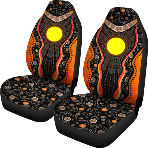 1stAustralia Aboriginal Car Seat Covers, Sun Boomerang Dot Painting Mandala - K4