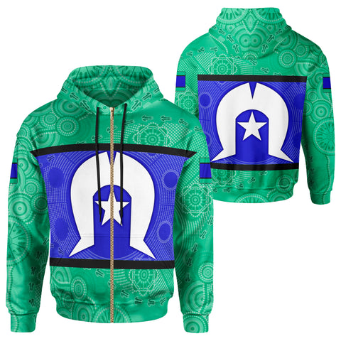1stAustralia Zip-up Hoodie, Torres Strait Islands Aboriginal Patterns Ver 02