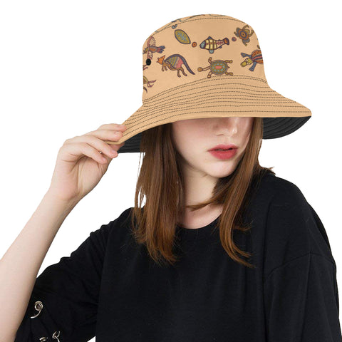 1stAustralia Aboriginal Bucket Hat, Kangaroo Turtle Crocodile Australian Animals