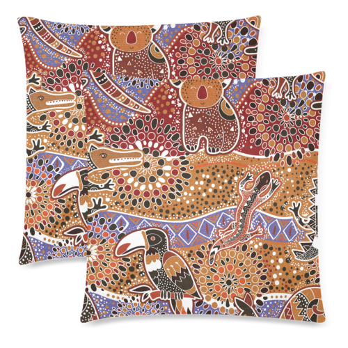 1stAustralia Pillow Covers - Aboriginal Patterns Pillow Australian Animals Covers