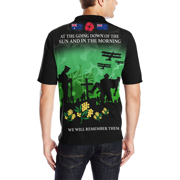 Anzac Australia Remembers Polo Shirt with Green mix Black color - Back - For Men