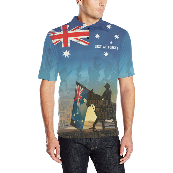 Anzac Australia Lest We Forget Polo Shirt with Blue color - Front - For Men