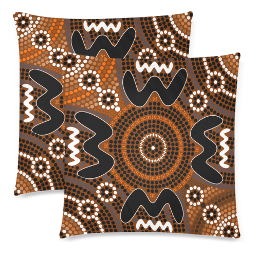 1stAustralia Pillow Covers - Aboriginal Dot Painting Pillow Ver04 Covers