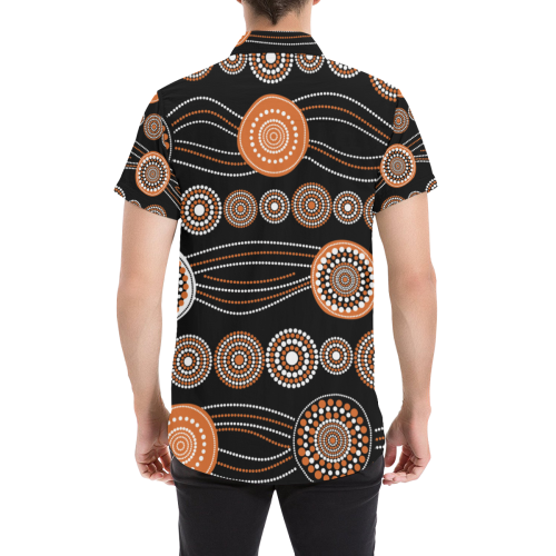 1stAustralia Short Sleeve Shirt - Aboriginal Dot Painting Shirt Ver03 - Men
