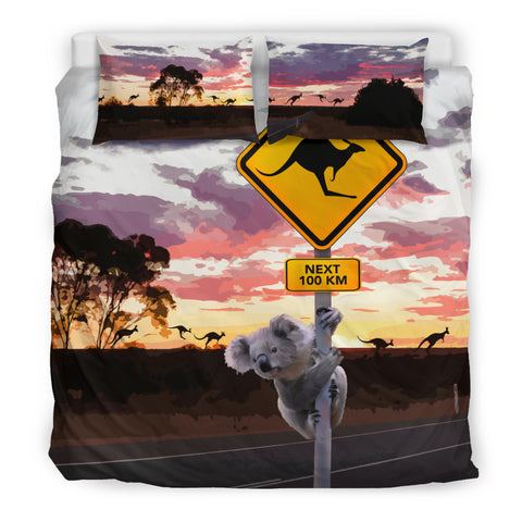 1stAustralia Bedding Sets - Koala Bed Kangaroo Sign Landscape Art Sets - Nn0