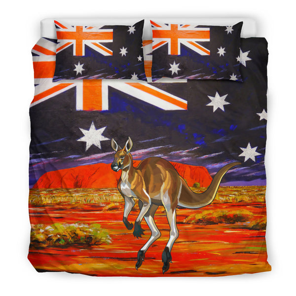 Kangaroo In The Land Of Aboriginal Stone Under Australia Sky Bedding Set Size King