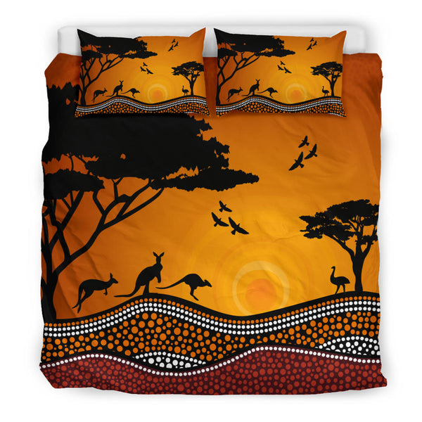 1stAustralia Aboriginal Bedding Sets, Kangaroo Dot Painting Sunset Landscape Art - J1