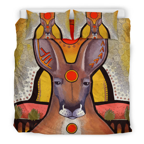 1stAustralia Kangaroo Bedding Sets, Aboriginal Patterns Sun Drawing Painting - Bn15