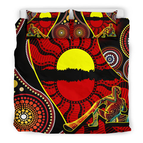 1stAustralia Bedding Set - Australia Aboriginal Dots With Didgeridoo - BN19