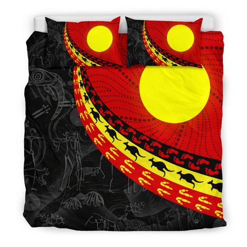 1stAustralia Aboriginal Bedding Set, Indigenous Flag Circle Dot Painting
