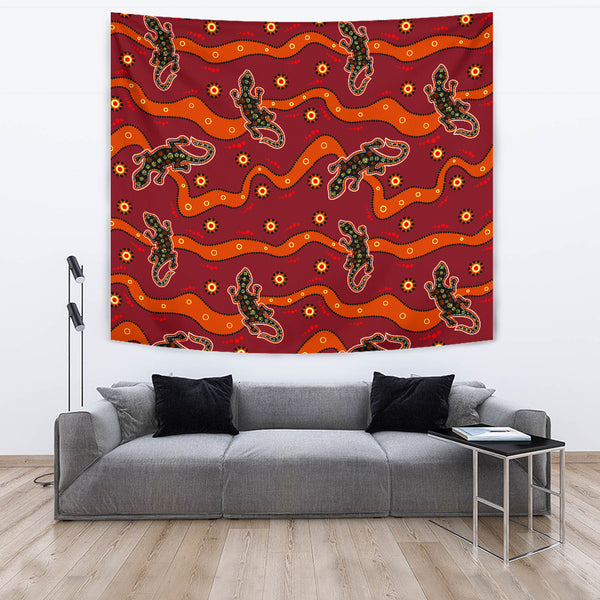 1stAustralia Tapestry - Aboriginal Dot Painting Tapestries Lizard