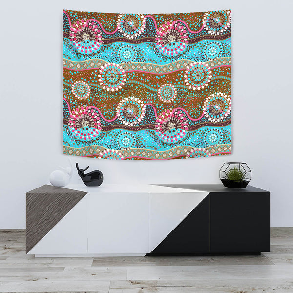 1stAustralia Tapestry - Aboriginal Dot Painting Tapestries Color Art
