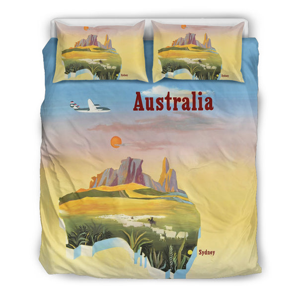 Australia Duvet Cover Set Map Poster