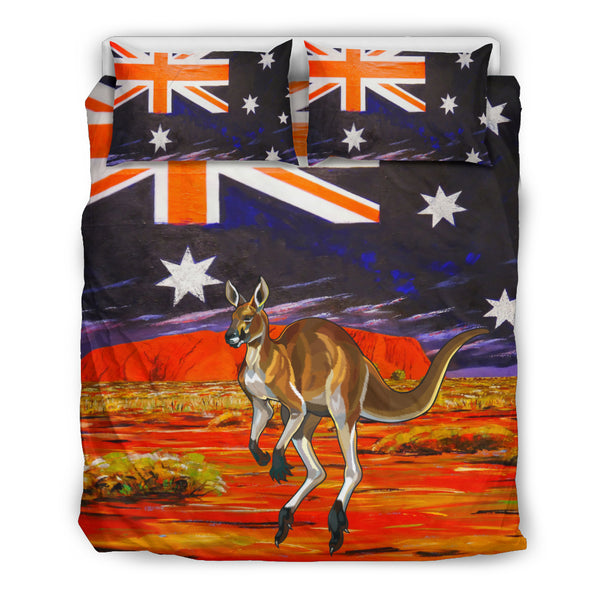 Australia Kangaroo Duvet Cover Set - Kangaroo In The Land Of Australia Pattern Stone Under