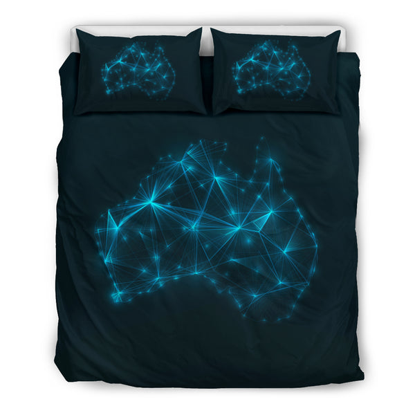 Australia Duvet Cover Set Glowing Map