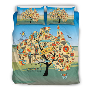 Australia Duvet Cover Set - Australia Map Tree Duvet Cover