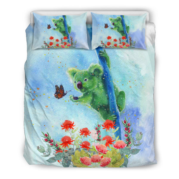 Australia Koala Duvet Cover Catch Butterfly In Waratah Garden