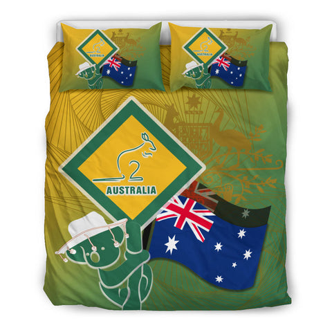1stAustralia Bedding Sets - Aus Flag and Coat Of Arms Bedding Set Kangaroo and Koala Sign