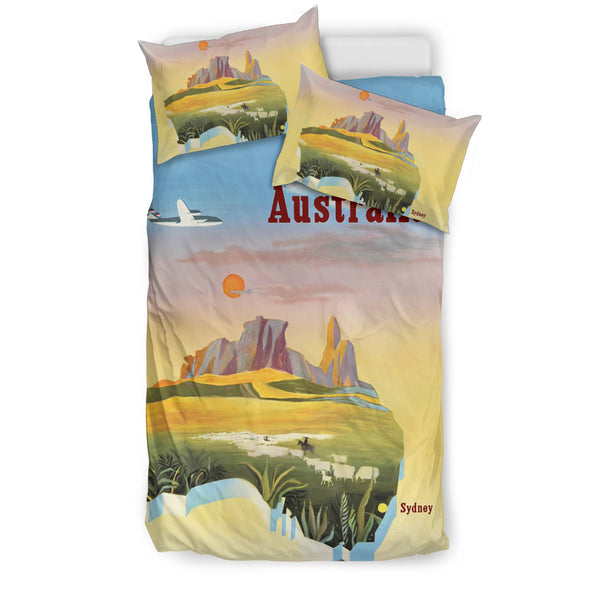 Australia Map Poster Bedding Set