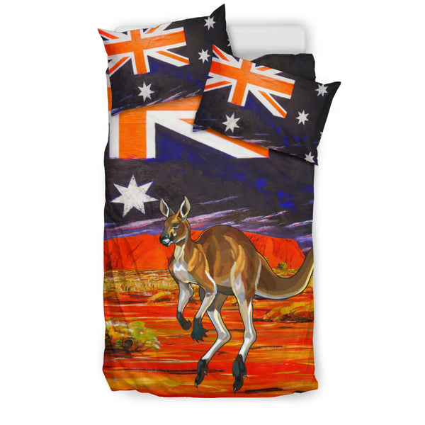 Australia Kangaroo Duvet Cover Set - Kangaroo In The Land Of Australia Pattern Stone Under - TH7