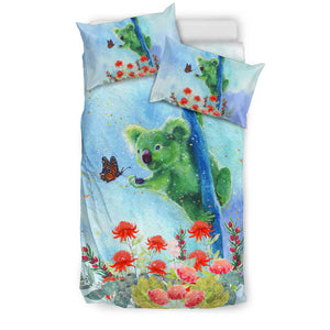 Australia Koala Catch Butterfly In Waratah Garden Bedding Set