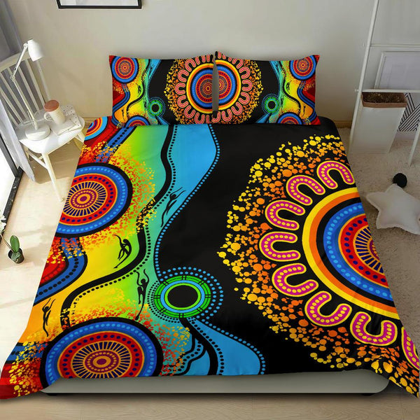 1stAustralia Bedding Set - Aboriginal Bedding Set Blue Dream