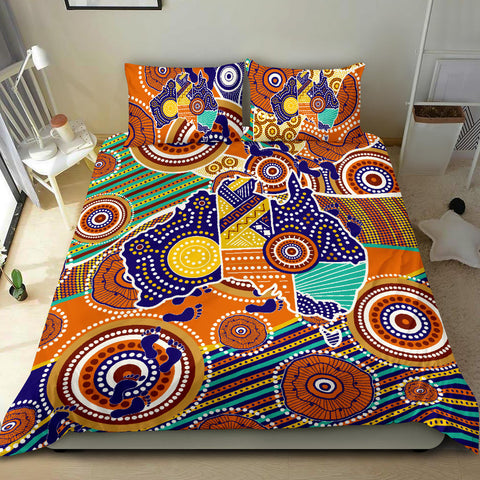 1stAustralia Aboriginal Bedding Set, Australian Map Dot Painting
