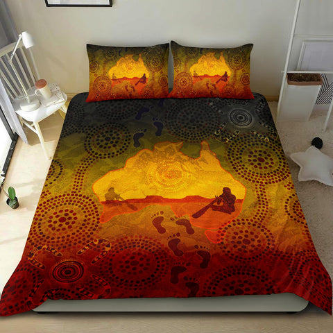 1stAustralia Aboriginal Bedding Set, Australian Map with  Indigenous Color