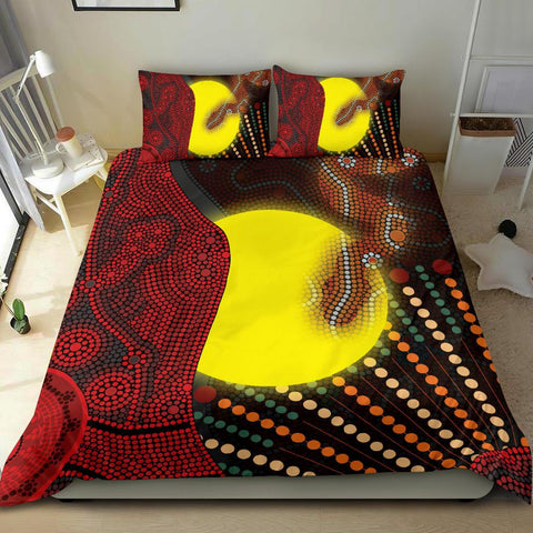 1stAustralia Aboriginal  Bedding Set - Indigenous Snake Sun Dot Painting