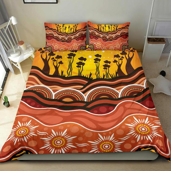 1stAustralia Aboriginal Bedding Set - Boab Tree Dot Painting Ver01