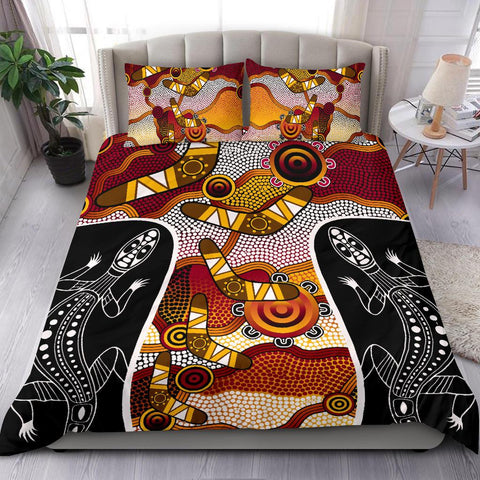 1stAustralia Bedding Set - Aboriginal Dot Painting Lizard Bedding Set